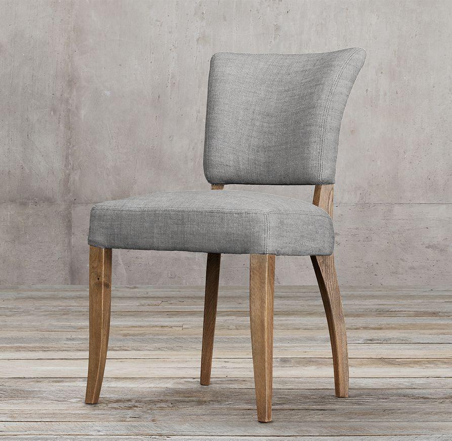 Adèle Upholstered Side Chair, In Perennials Textured Linen Weave, Fog | Restoration  Hardware