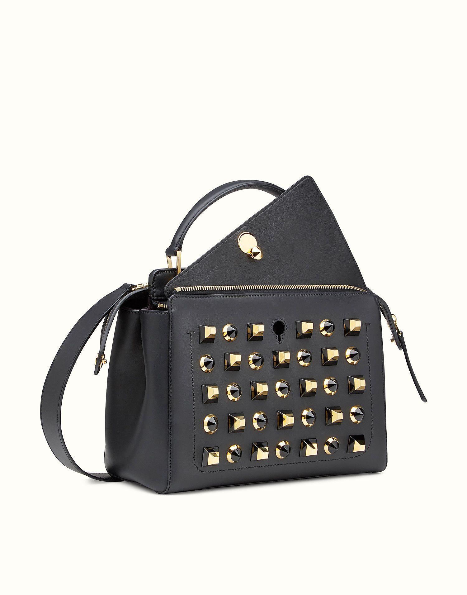 FENDI DOTCOM GOLD EDITION - black leather handbag and clutch bag - view 2  zoom d9948d4b7f164