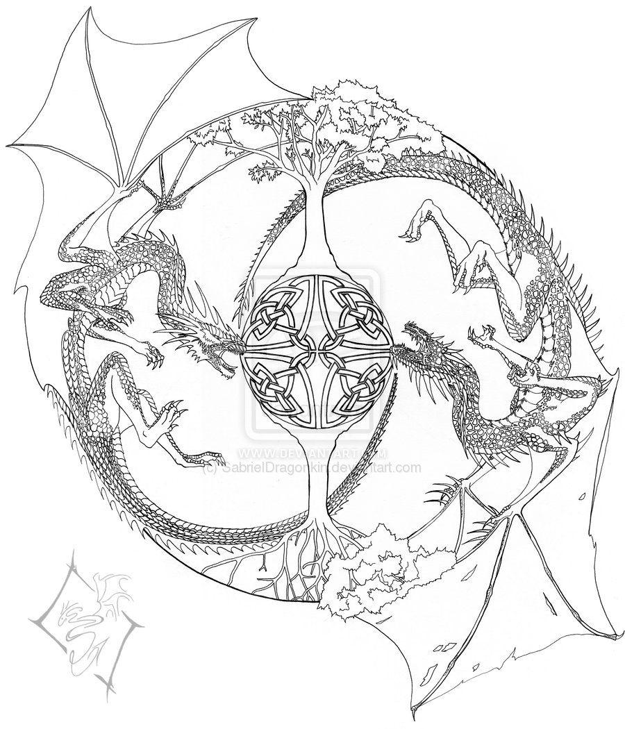 Mandala Line Drawing By Sabrieldragonkin D3dmspr Jpg 900 1050