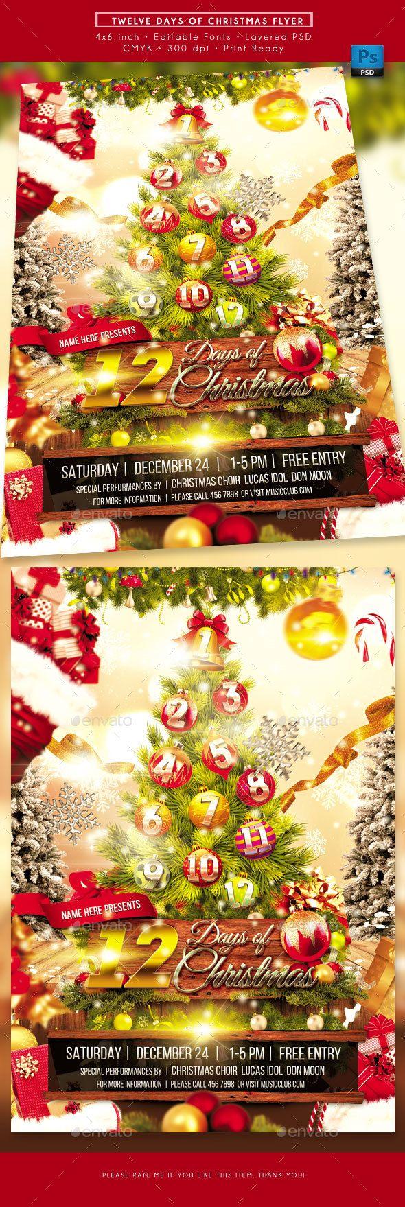 Twelve Days Of Christmas Flyer Christmas Flyer Twelve Days Of Christmas Holiday Flyer Template