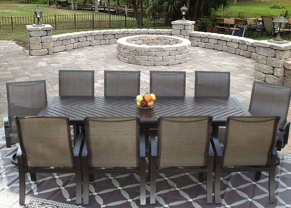 Barbados Sling Outdoor Patio 11pc Dining Set For 10 Person With