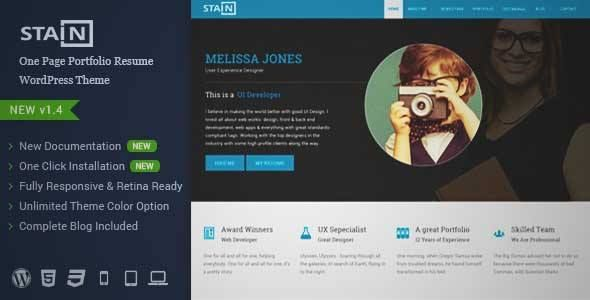 download and review of stain one page portfolio resume wordpress