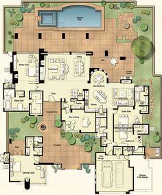 Tucson Custom Home Hacienda Floor Plan Haciendas Court yard