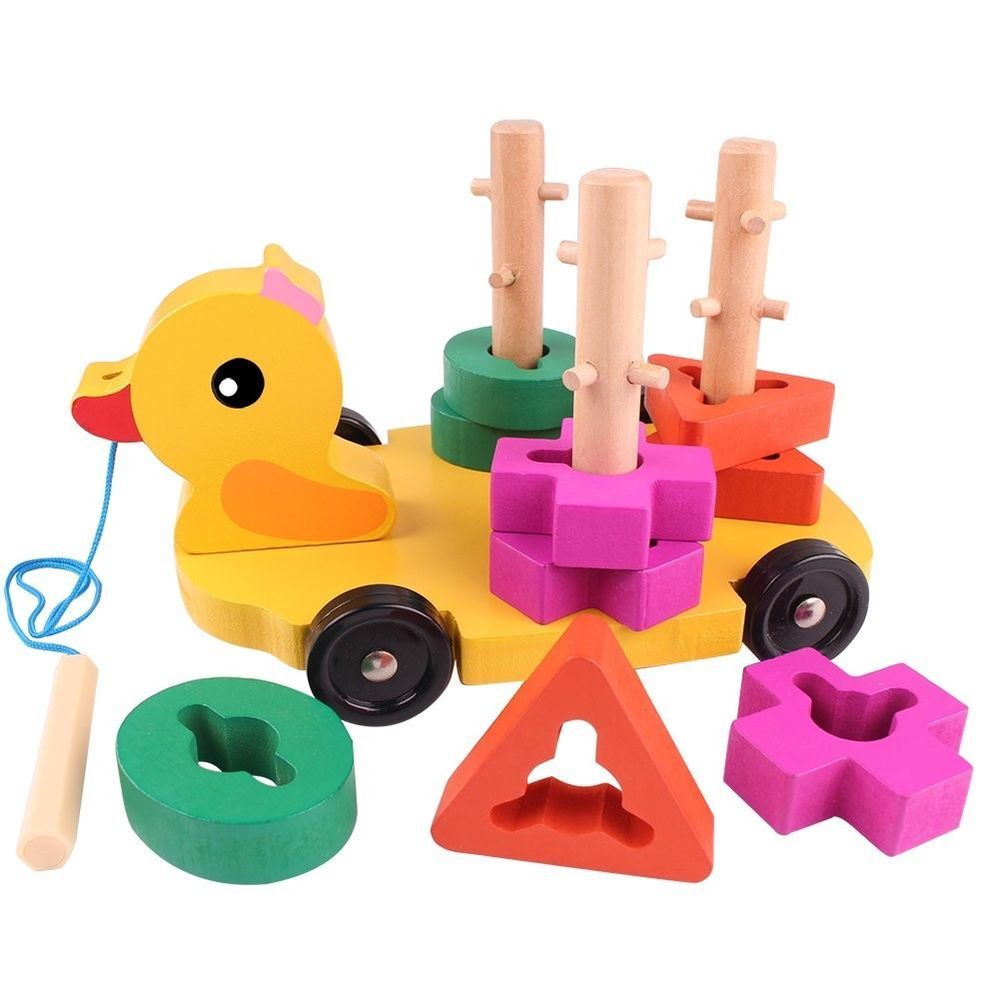 Wooden Duck Toy with Educational Peg Puzzle for Toddlers Shape color ...