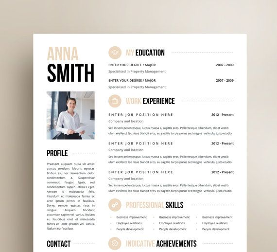 Resume CV Template - Editing Customization Resumes Pinterest