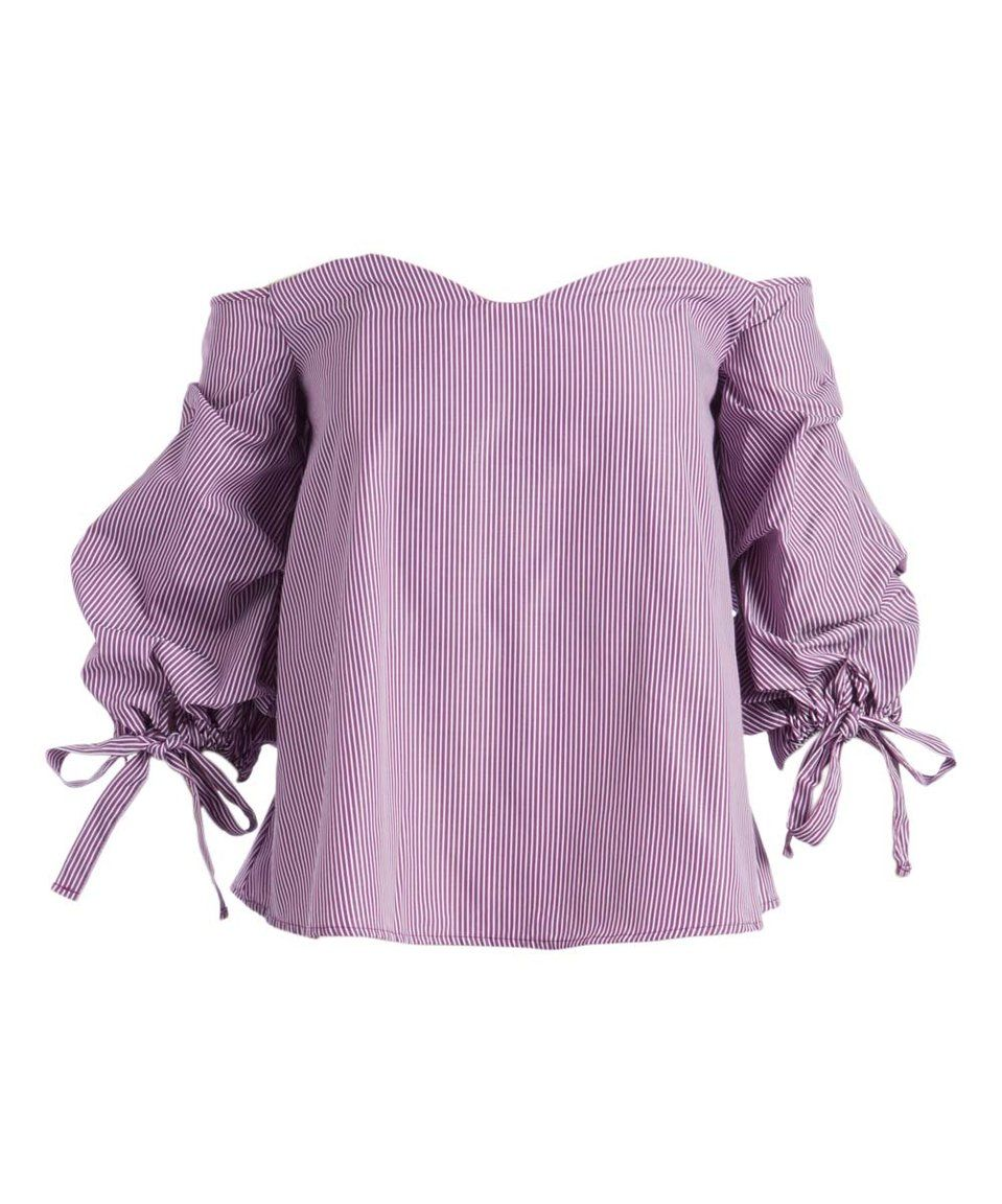 12db7445bd27 Take a look at this Purple   White Pinstripe Off-Shoulder Top - Women today!