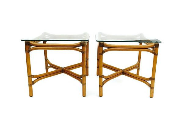 Vintage Bamboo End Tables PAIR Modern Bamboo Rattan Leather Side - Bamboo end table glass top