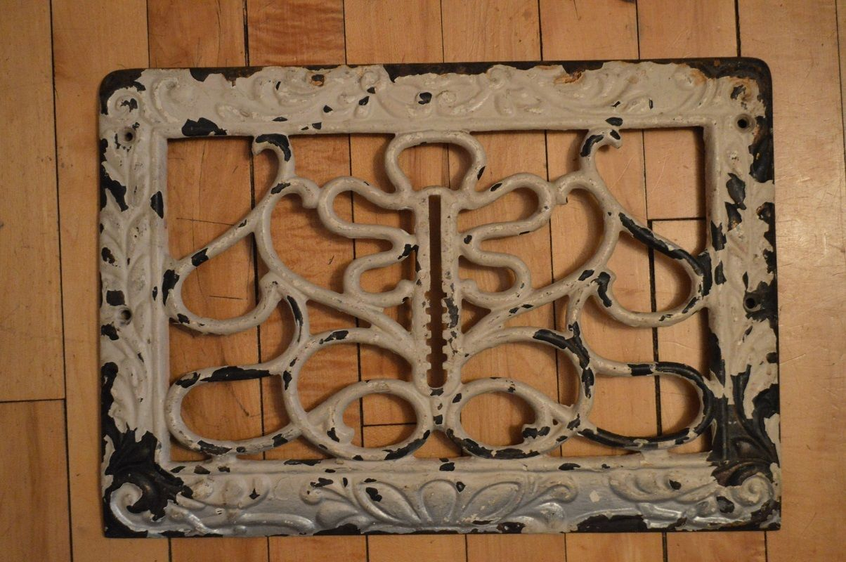Vintage Art Deco Scrolly Cold Air Return Floor Grate Wall