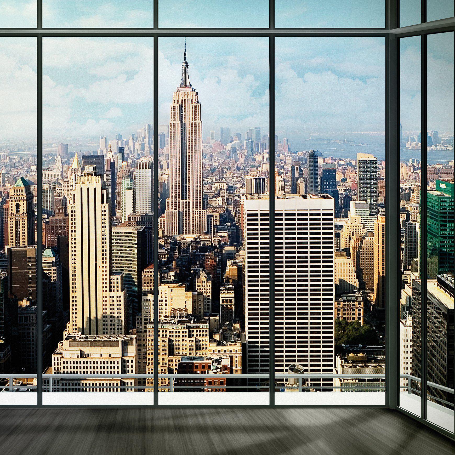 New York Skyline Window Mural 85 Window Mural New York Skyline Skyline