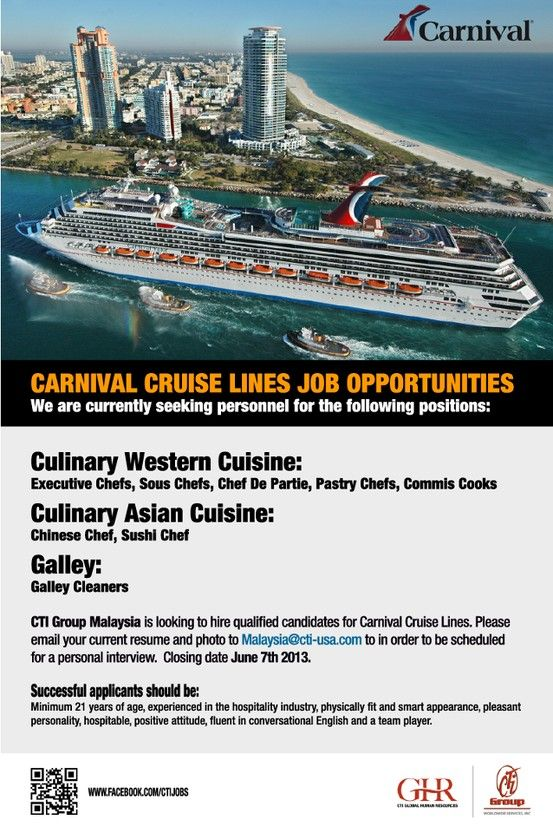 Carnival Cruise Lines job Opportunities Worldwide Job Posting - cruise ship chef sample resume