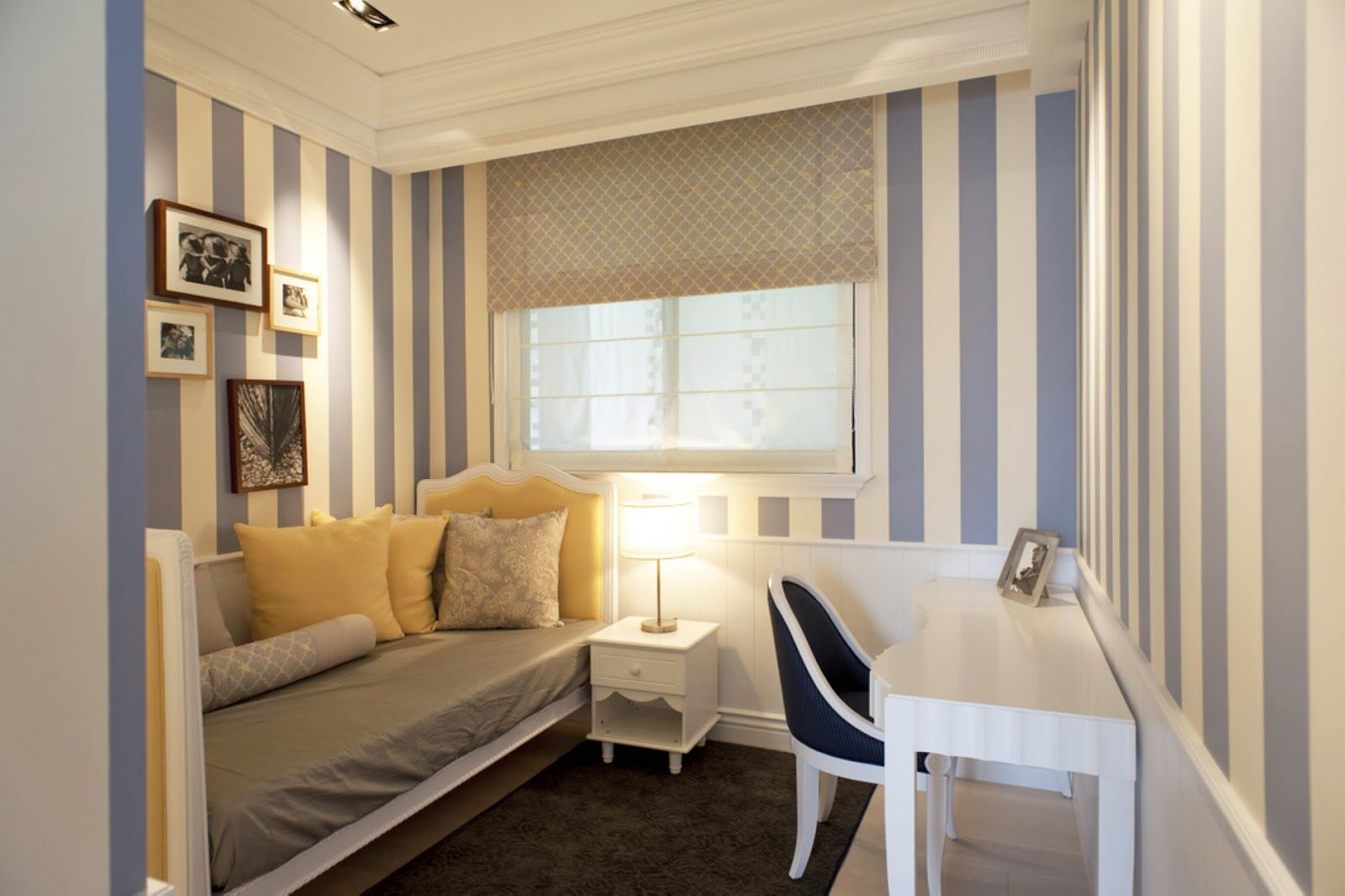 Very Small Guest Bedroom Ideas taiwan penthouse condo decor: dressing room, striped wallpaper