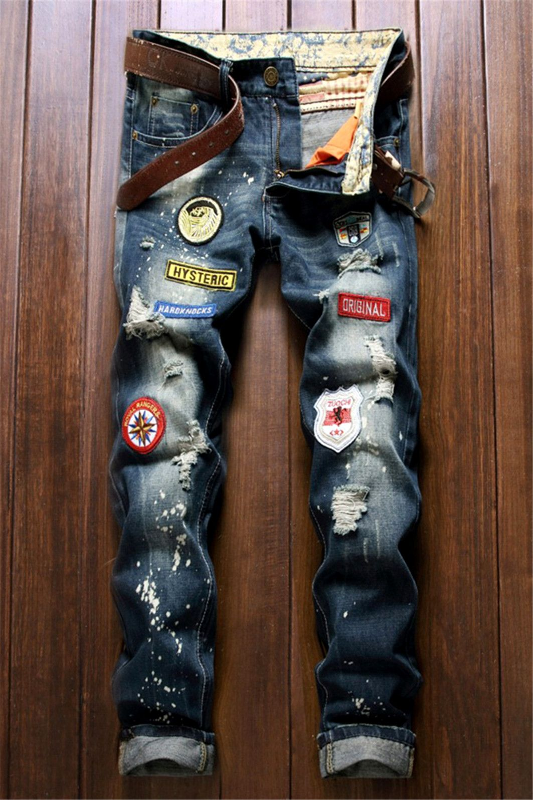 9356473e09b  26.50 Five-Pocket Patch Design Zipper Fly Ripped Jeans