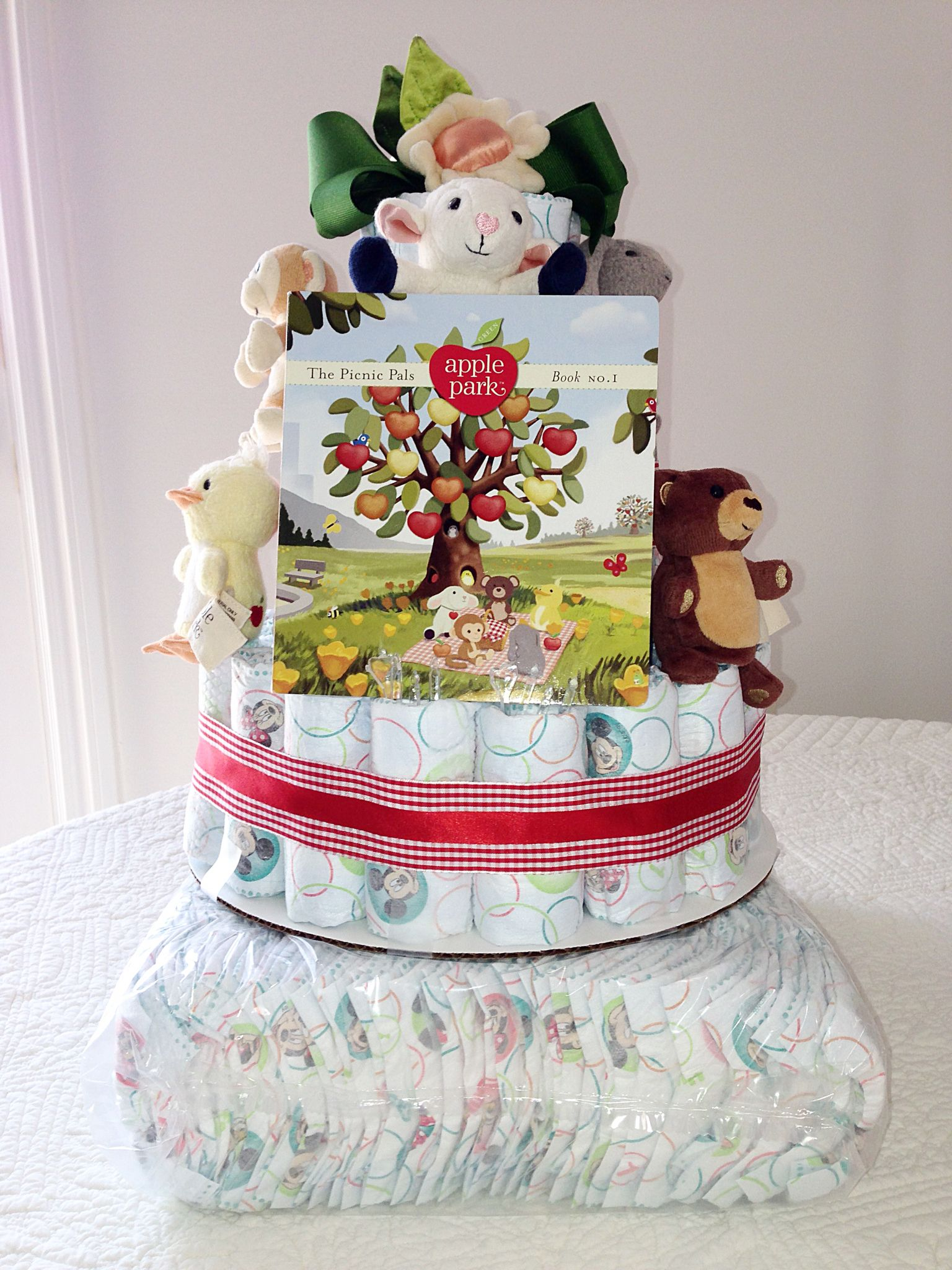 Look at this cute diaper cake! We heard it was the hit of the shower