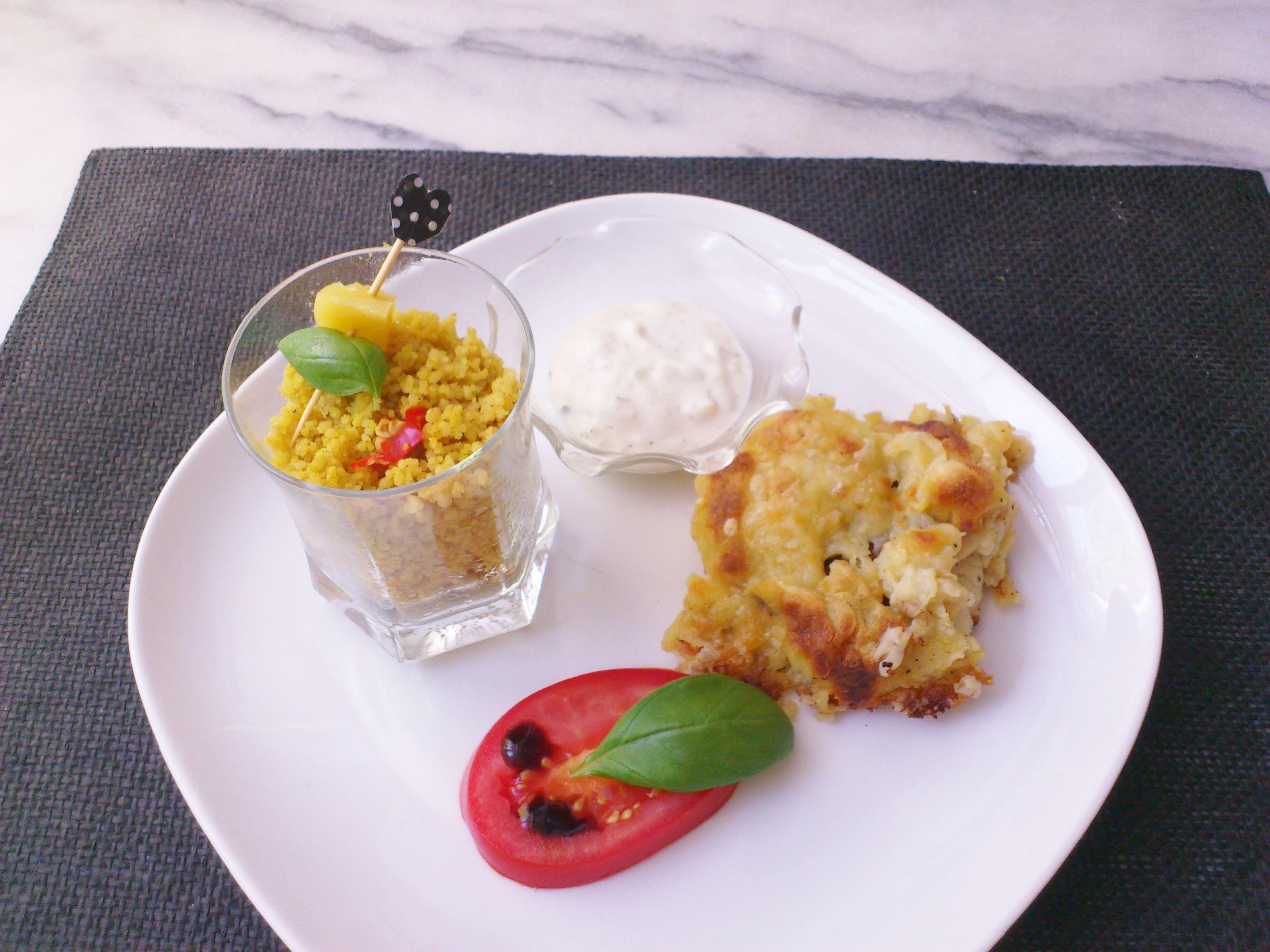 Homemade potato yellow zucchini gratin & #hummus curry couscous! #vegan #organic #glutenfree #Tzatziki #food