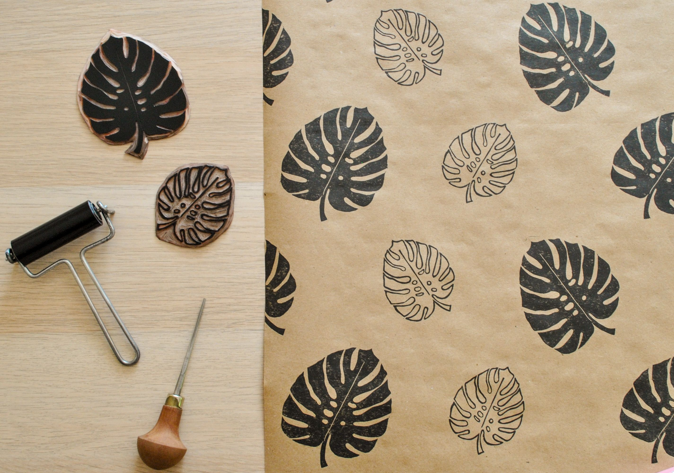 Hand Printed Wrapping Paper Sheet Featuring An Original Lino Printed Monstera Leaf Design Delightfullych Print Wrapping Paper Handmade Stamps Bumble Bee Print
