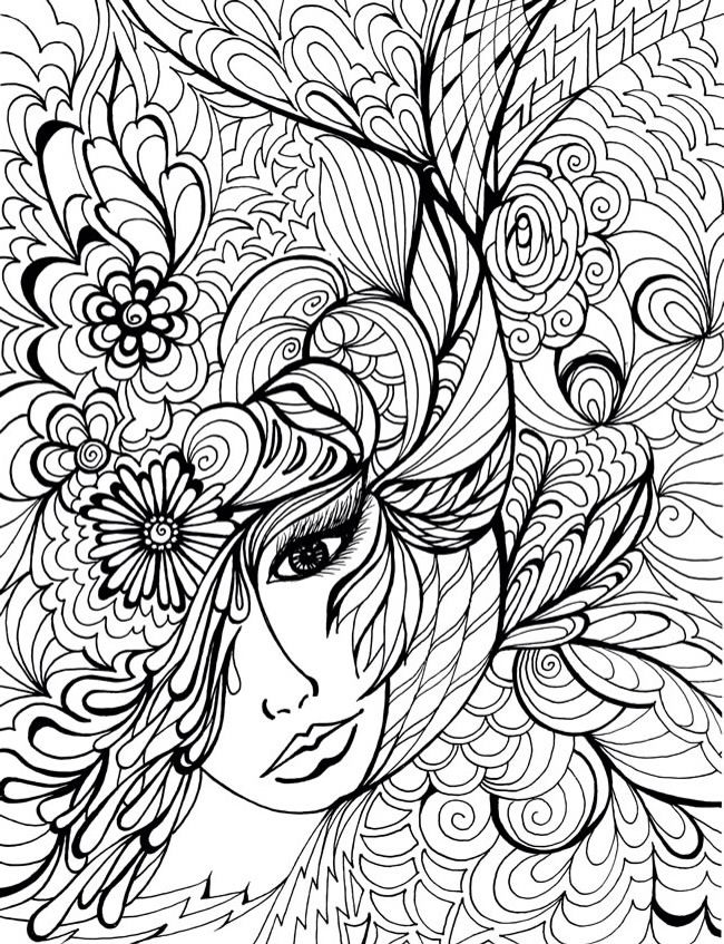 Adult Colouring Page Find This Pin And More On Favorite DIYs By Barbharab Dover Publications Creative Haven Fanciful Faces