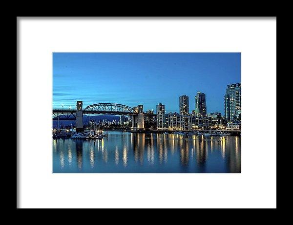 Alex Lyubar Framed Print featuring the photograph Evening Life Of The Seaside City by Alex Lyubar#AlexLyubarFineArtPhotography#VancouverCanada#Downtown#BurrardBridge#NightScene#ArtForHome#FineArtPrints#HomeDecor#FineArtForSale