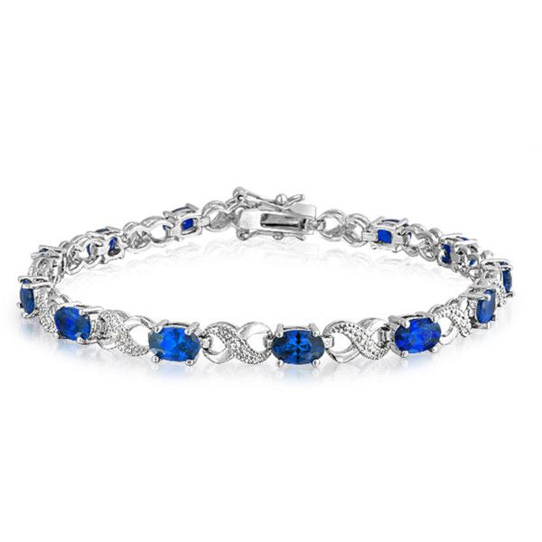 Bling Jewelry Bling Jewelry Sapphire Color Cz Figure Eight Infinity... ($22) ❤ liked on Polyvore featuring jewelry, bracelets, blue, birthday jewelry, cz tennis bracelet, polish jewelry, sapphire jewellery and sapphire jewelry