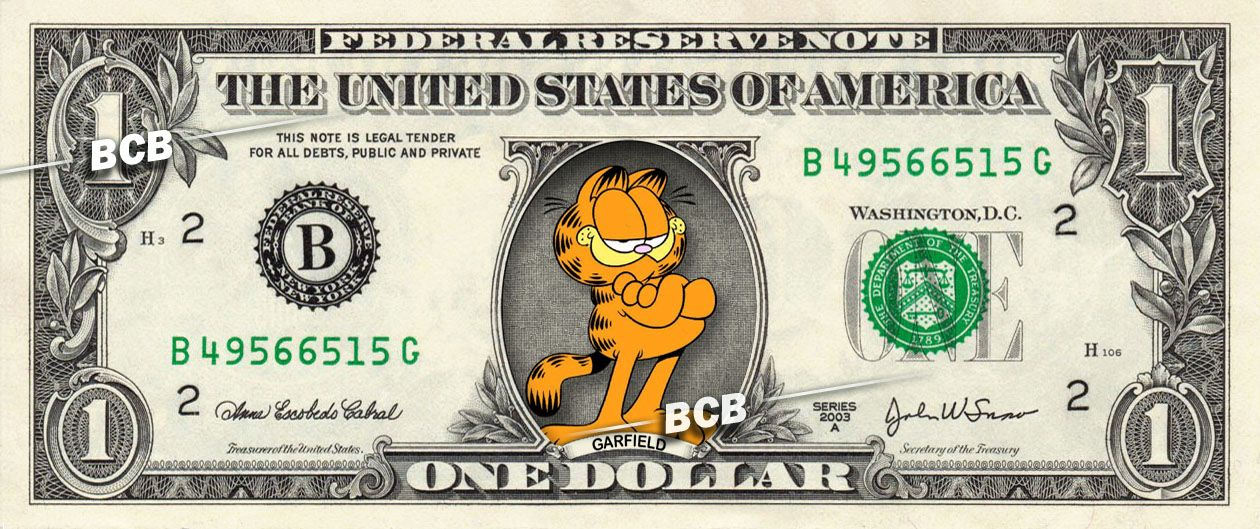 GARFIELD on a REAL Dollar Bill Cash Money Collectible Memorabilia - money order form