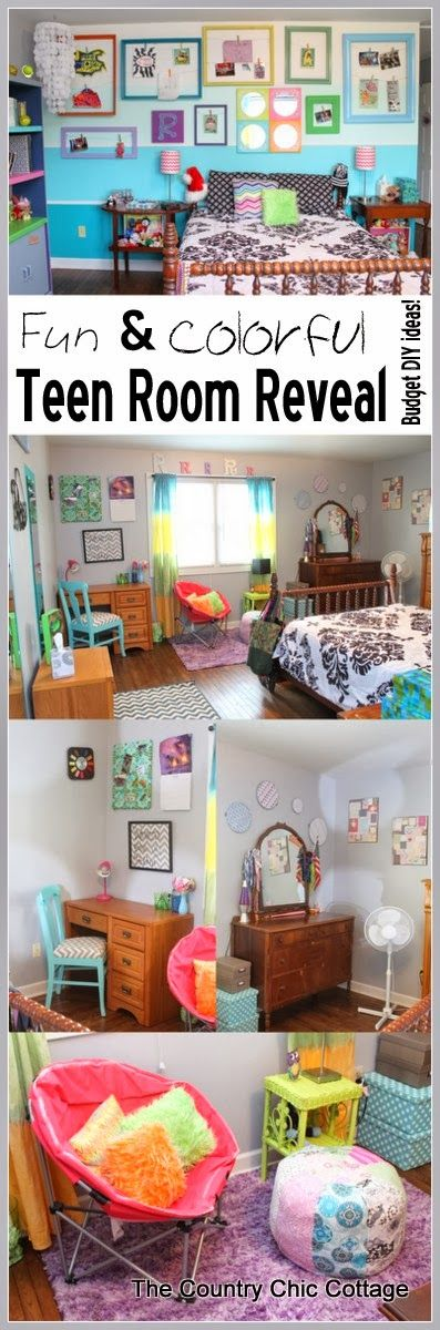 Teen Room Reveal -- come see my fun and colorful room on a budget