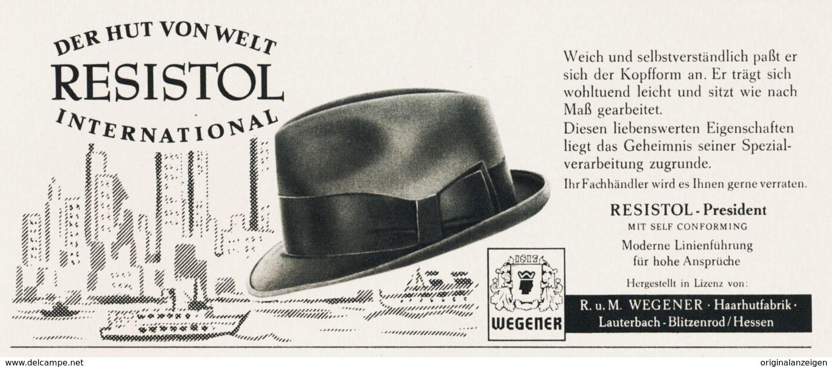 Original Werbung Anzeige 1961 Wegener Resistol Hut Lauterbach