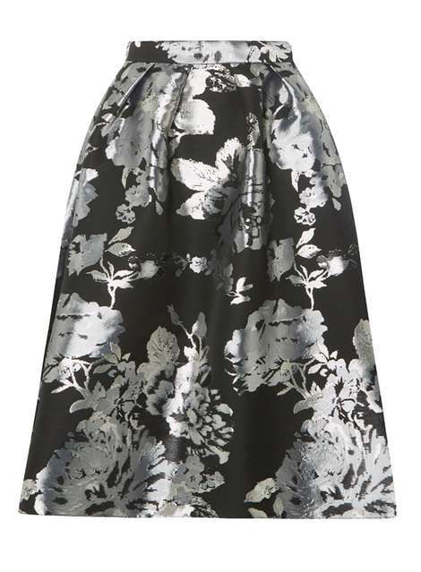 31a2cd655a Luxe Silver Floral Jacquard Skirt   Fashion 2018   Skirts, Skirts ...