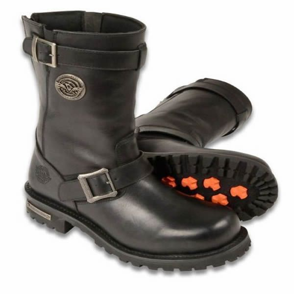 Mens Black Leather Classic Engineeer Boots  w// Side Zipper Entry Abrasion Guard