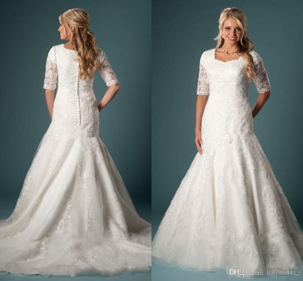new vintage mermaid wedding dresses square neck half sleeves