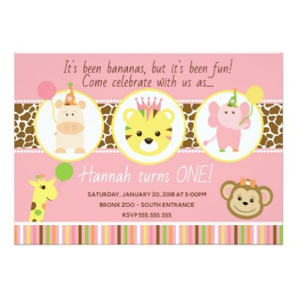 Girl zoo birthday party invitation birthday cards invitations girl zoo birthday party invitation birthday cards invitations party diy personalize customize celebration bookmarktalkfo Image collections