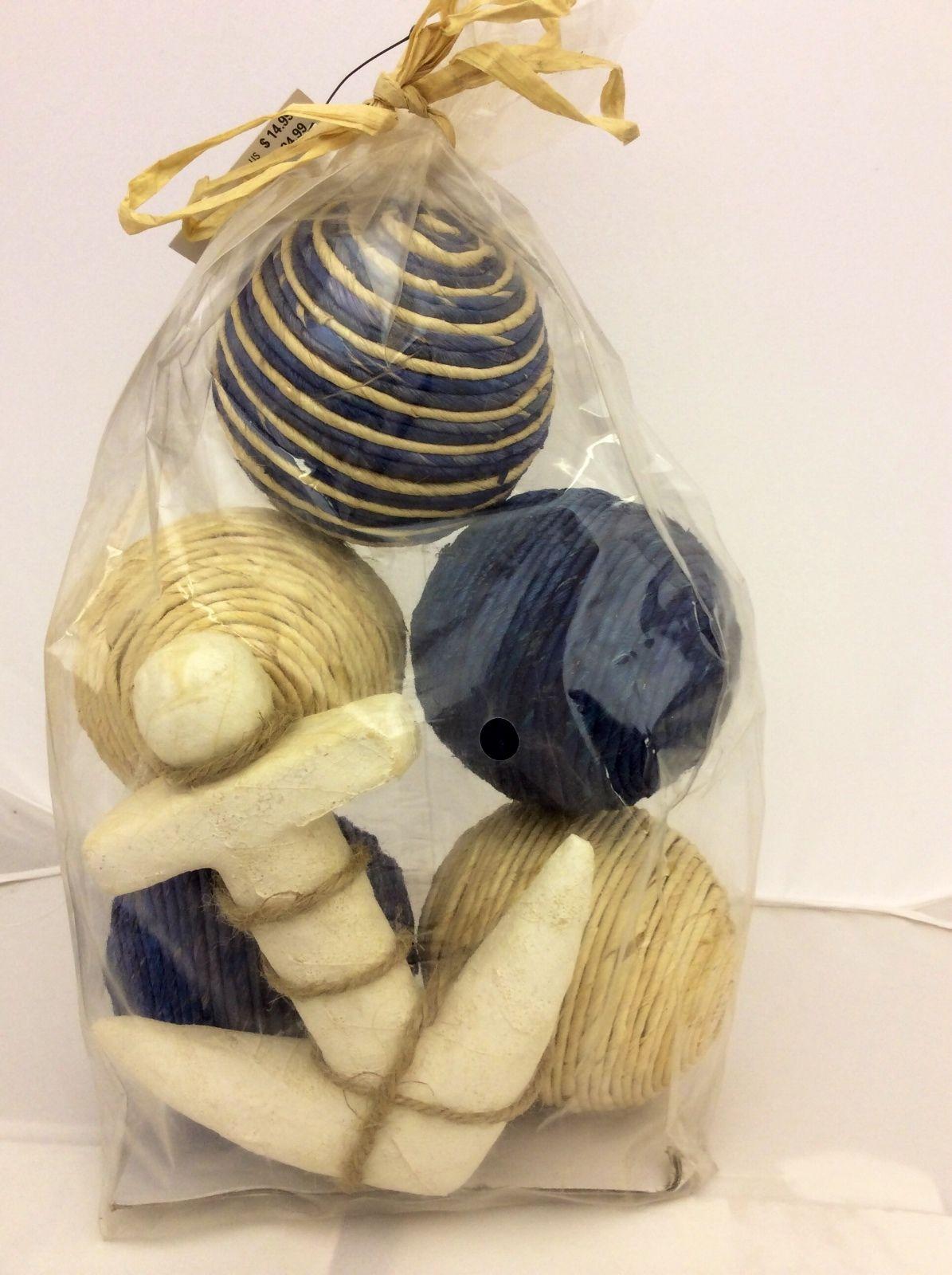 Decorative Rope Balls Sea Shoreline Set Of 5 Blue Natural Rope Balls Anchor Home