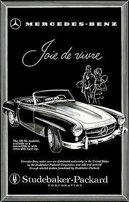 1957 Mercedes Benz 300 SL Roadster Convertible Gottlieb Vintage Print Ad