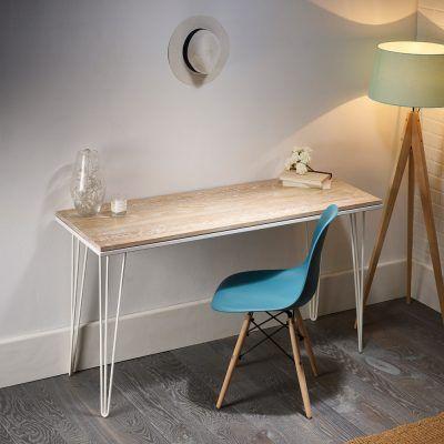 Featured Whitewashed Oak Desk With White Hairpin Legs In 2020 Hairpin Desk Solid Oak Beautiful Desk