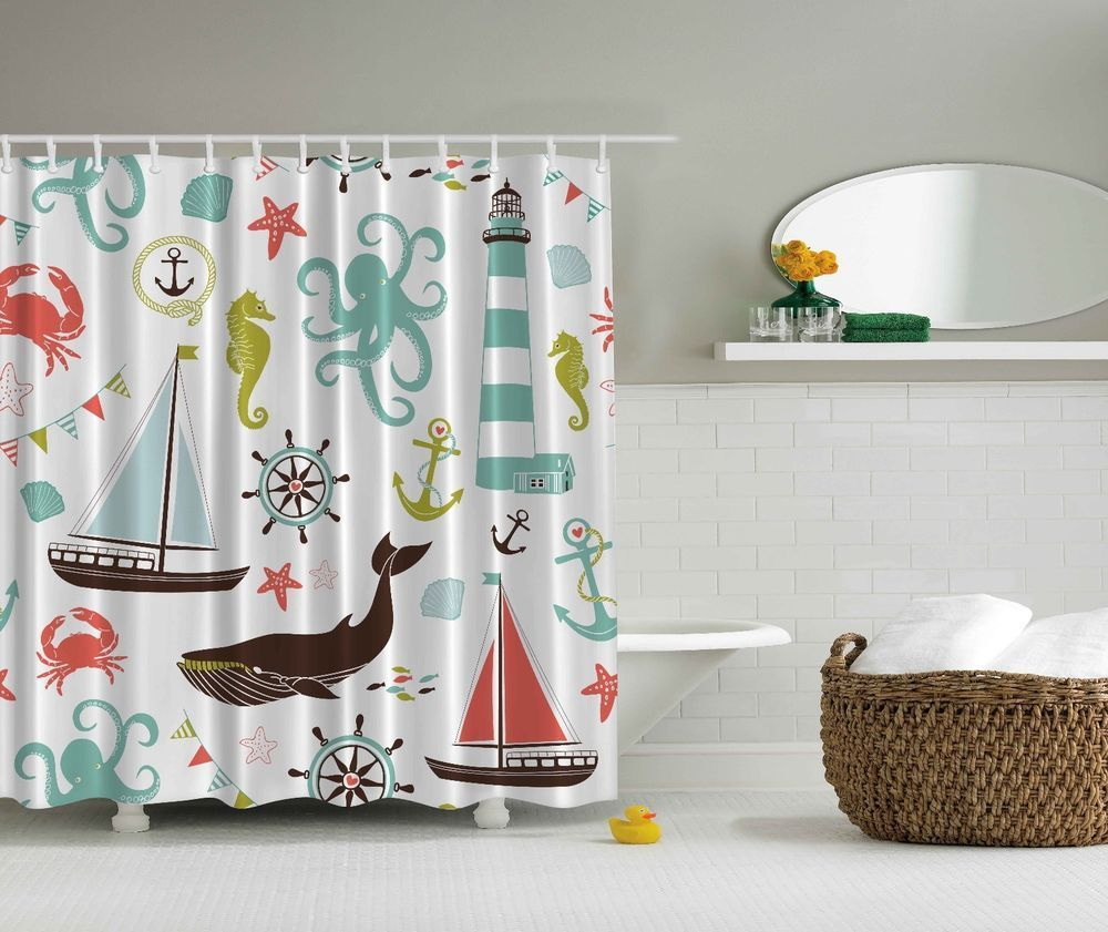 Surfboards on Blue Wooden Background Shower Curtain Bathroom Fabric /& 12hooks