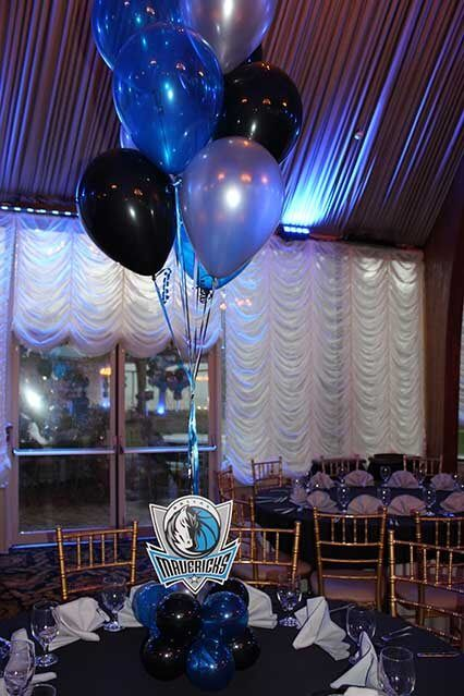 Basketball balloon centerpiece blue black silver