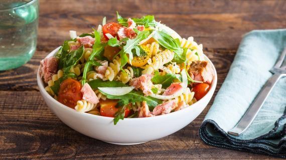 Паста-салат с консервированным тунцом | Рецепт | Блюда с ...