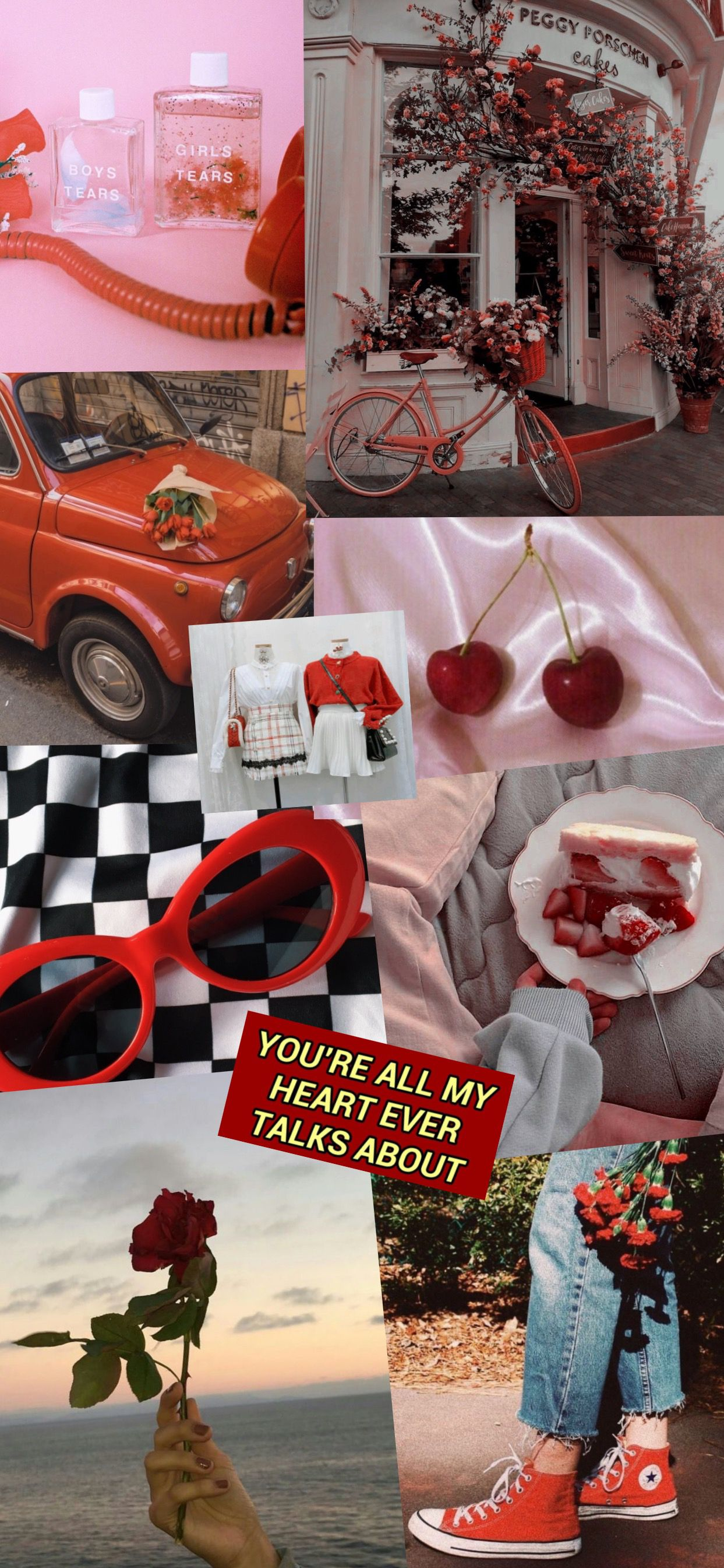 Red Grunge Aesthetic Collage Tumblr Wallpaper Cute Artsy