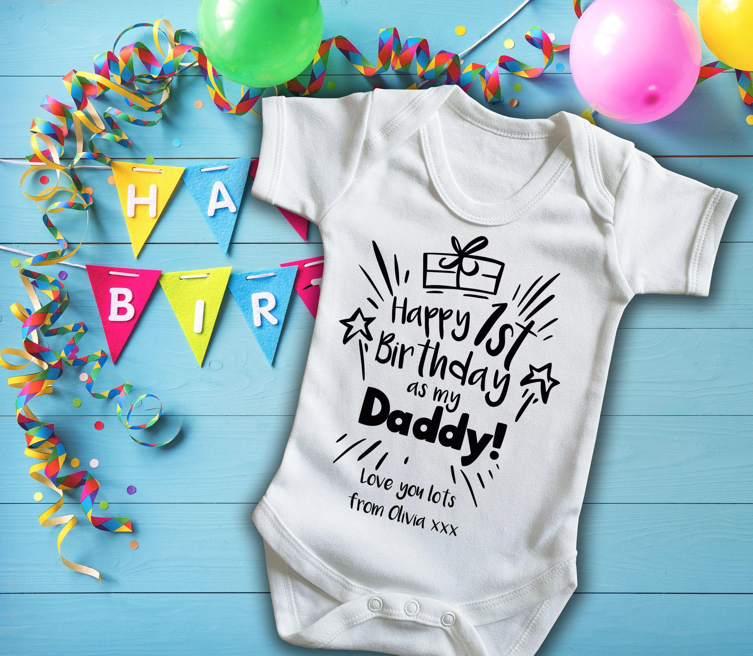 Custom Happy birthday Daddy white baby grow bodysuit vest with custom message.