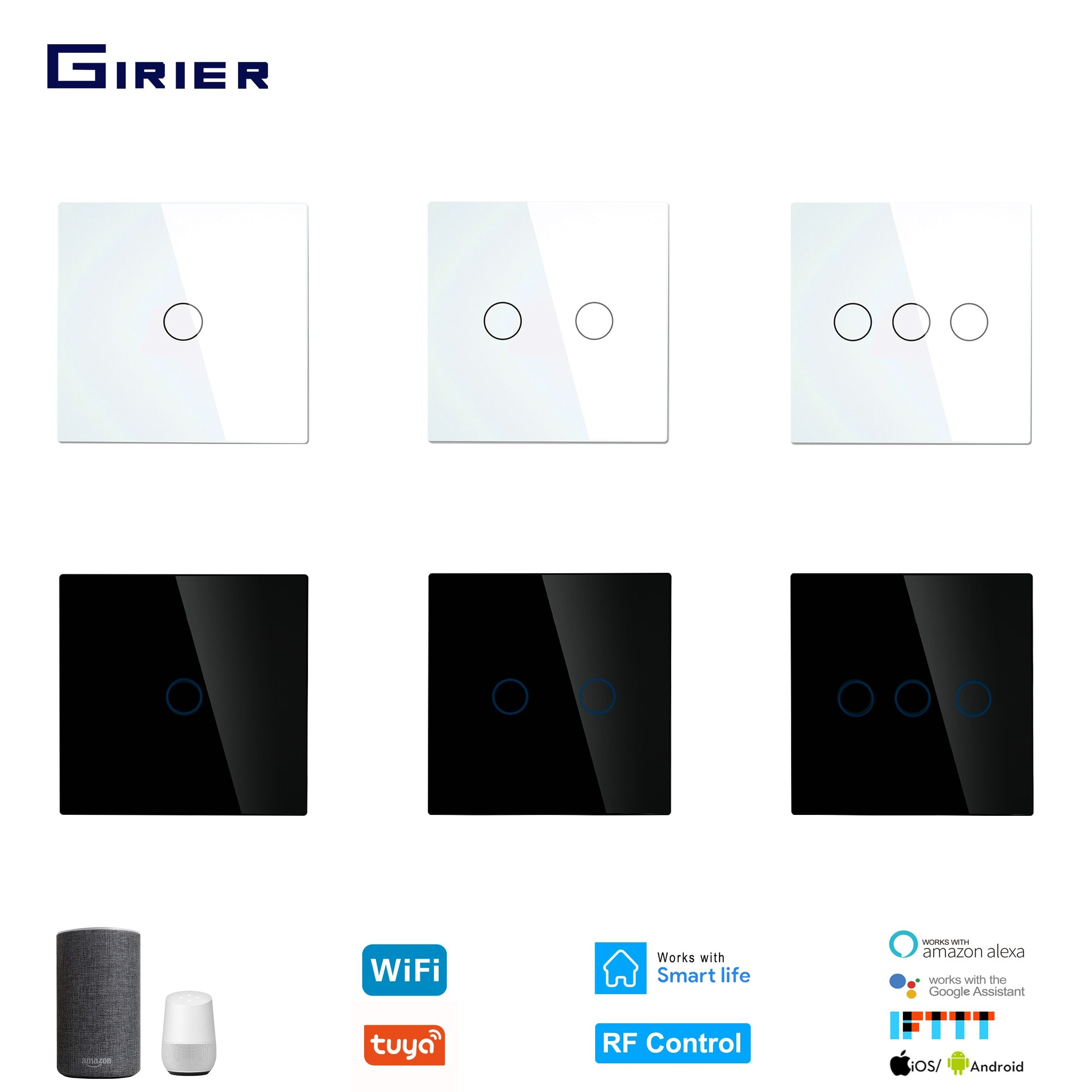 Wifi Wall Touch Switch Eu No Neutral Wire Required Smart Light Switch Tuya Rf433 Smart Home Controller Support Alex Light Sensor Switch Smart Wifi Light Sensor
