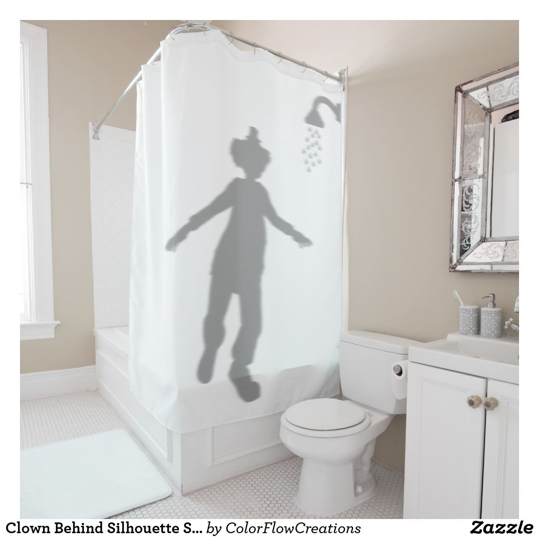 Clown Behind Silhouette Shadow Humor Scary Shower Curtain