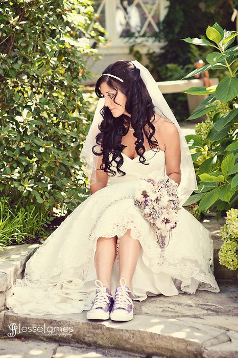 Bride In Her Sneakers And Wedding Dress Waiting For To Start Http