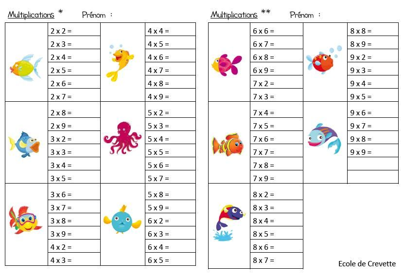 Jeux les tables de multiplication de 2 9 table de for Les tables de multiplication en ligne