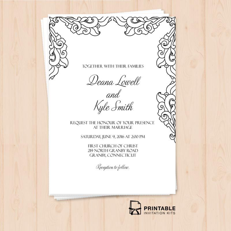 Vintage Side Border Invitation Christian Wedding Invitations Blank Wedding Invitation Templates Wedding Invitation Kits