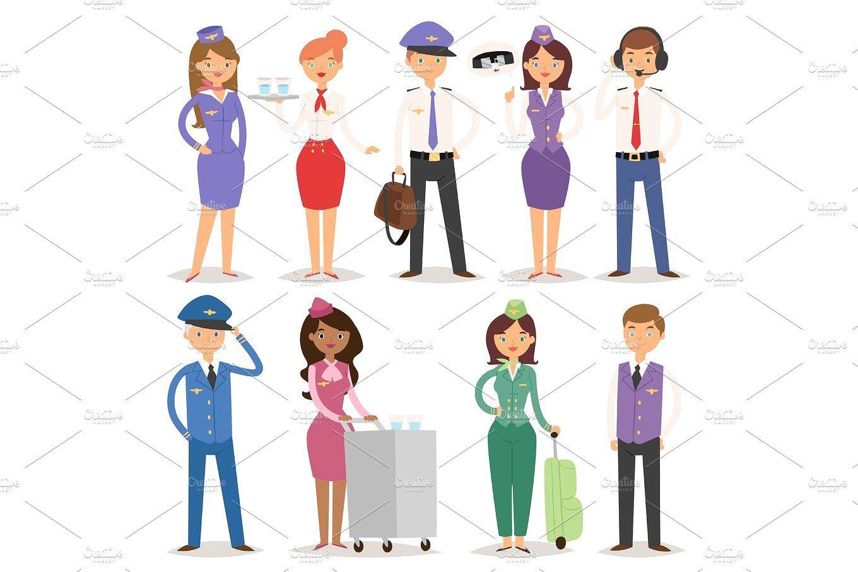 Vector Illustration airline plane personnel staff pilots