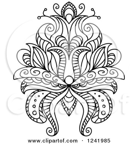 Henna Templates Printable Clipart Of A Black And White Henna Lotus
