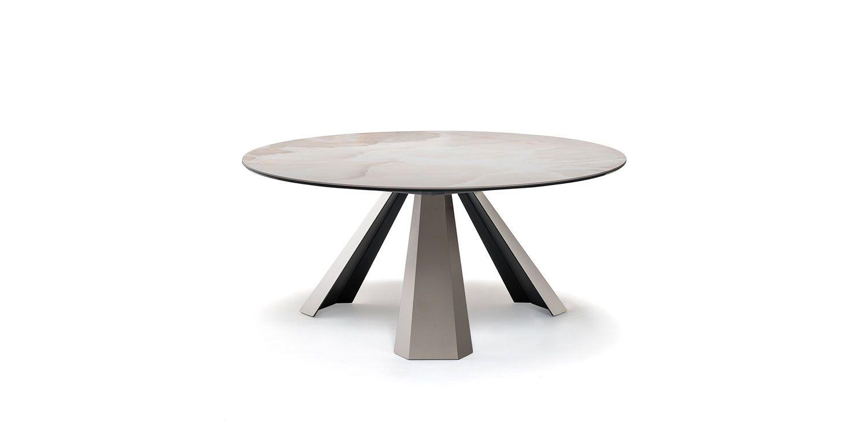 Eliot Keramik Round Tables Table Avec Base En Acier Inox Satine Ou Gaufre Titane Gfm11 Blanc Gfm71 Noir Gfm73 Ou Graphite Gfm69 Acier Inox Centre De Table Et Ceramique