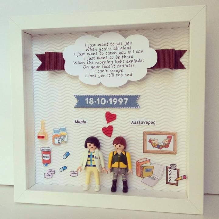 anniversary frame with two cute playmobils, details for the couple ...