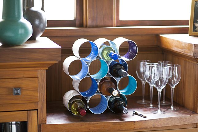 Awe Inspiring Diy Color Block Wine Rack Made From Coffee Cans Crafts Download Free Architecture Designs Salvmadebymaigaardcom