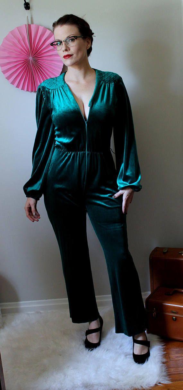 36abefb2a2 Vintage Green Sheen Velvet Jumpsuit    Softest Emerald Green Zip ...