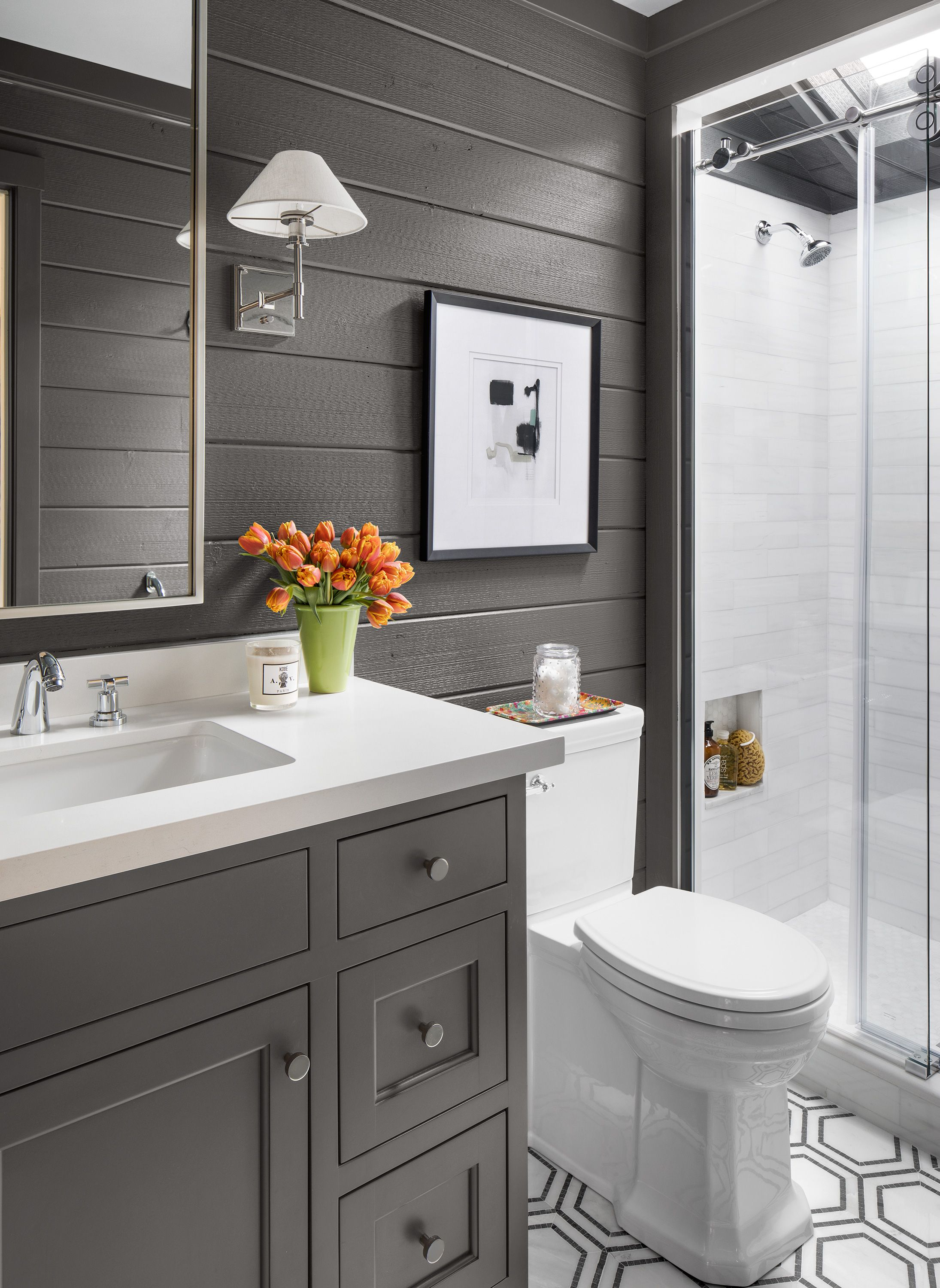 Small Bathroom Before And After Smart Paint Opens Up A Space Small Bathroom Bathroom Style Bathroom Decor
