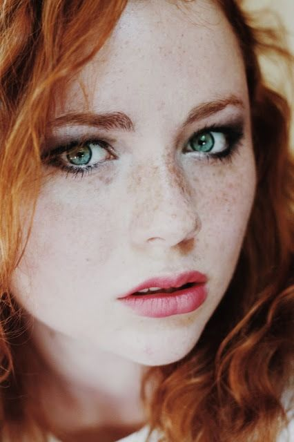 Stunning Green Eyed Freckled Ginger Beauty Portrait